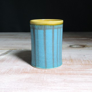 Turquoise and Amber Striped Tumbler