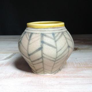 Rose and Amber Herringbone Vase