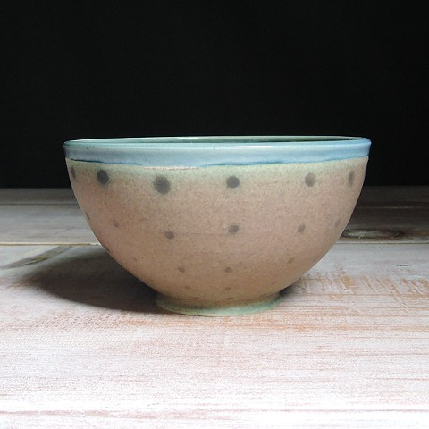 Rose and Teal Polka Dot Small Bowl