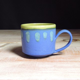 Cobalt and Avocado Abstract Teacup
