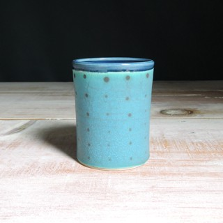 Turquoise and Navy Polka Dot Tumbler