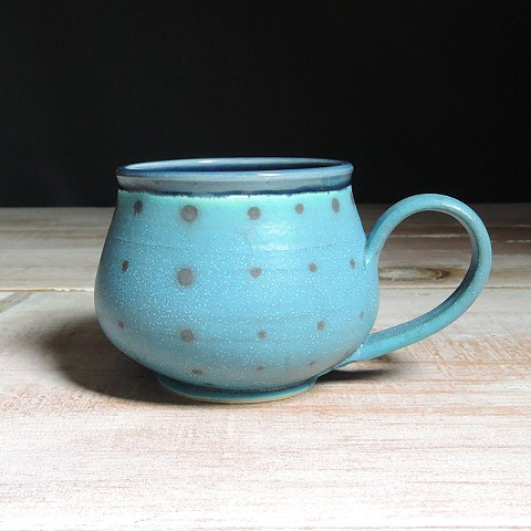 Turquoise and Navy Polka Dot Bulb Mug