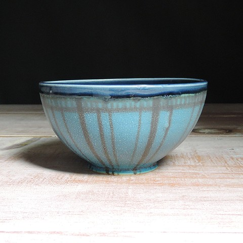 Turquoise and Navy Striped Small Bowl