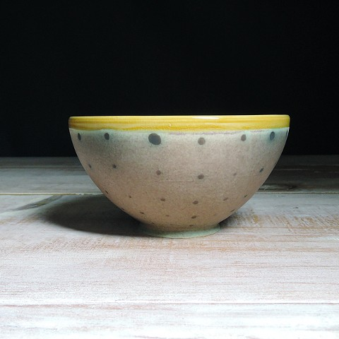 Rose and Amber Polka Dot Small Bowl
