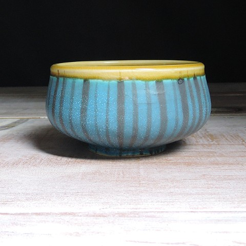 Turquoise and Amber Thinly Striped Small Low Bowl