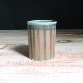 Rose and Teal Striped Tumbler