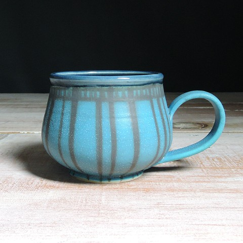 Turquoise and Navy Striped Bulb Mug