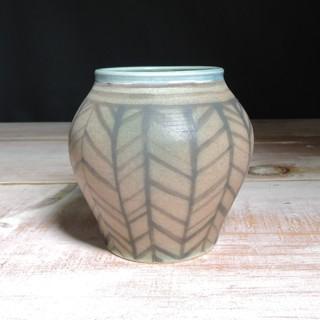 Rose and Teal Herringbone Vase