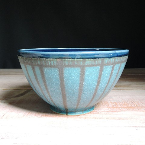 Turquoise and Navy Striped Serving Bowl
