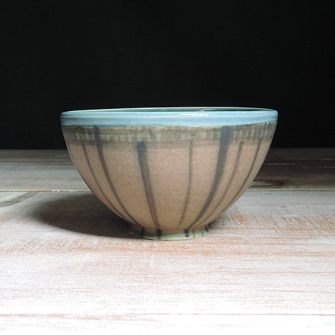 Rose and Teal Striped Small Bowl