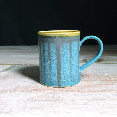 Turquoise and Amber Striped Diner Mug