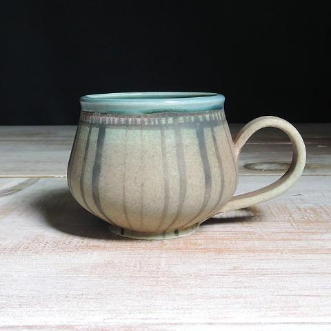 Rose and Teal Striped Bulb Mug