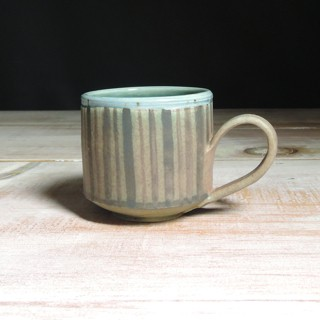 Rose and Teal Striped Teacup