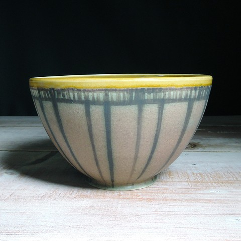 Rose and Amber Striped Serving Bowl