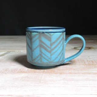 Turquoise and Navy Herringbone Teacup