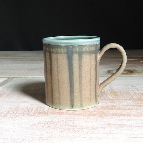 Rose and Teal Striped Diner Mug