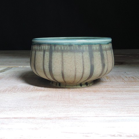 Rose and Teal Striped Small Low Bowl