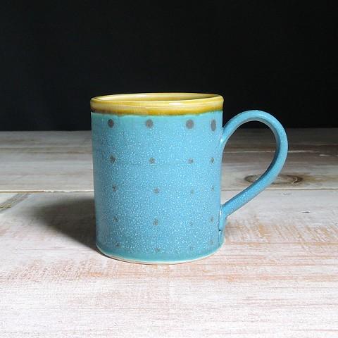 Turquoise and Amber Polka Dot Diner Mug