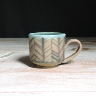 Rose and Teal Herringbone Teacup