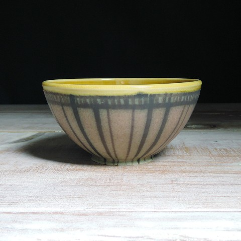 Rose and Amber Striped Small Bowl