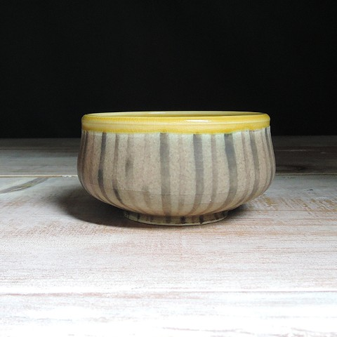 Rose and Amber Thinly Striped Small Low Bowl