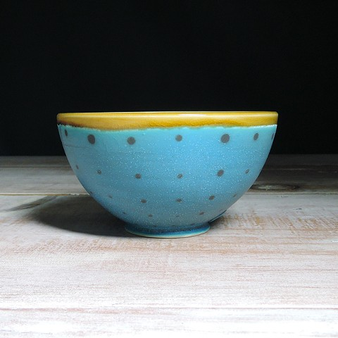Turquoise and Amber Polka Dot Small Bowl