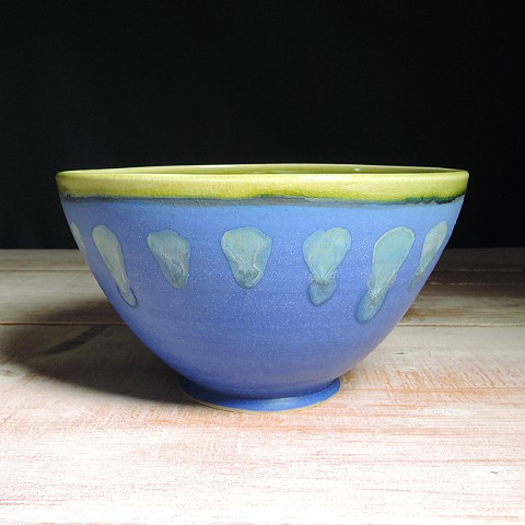 Cobalt And Avocado Abstract Serving Bowl
