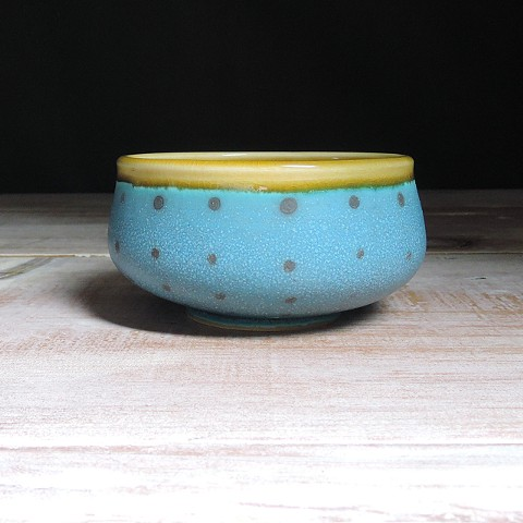 Turquoise and Amber Polka Dot Small Low Bowl