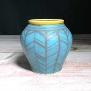 Turquoise and Amber Herringbone Vase