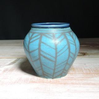 Turquoise and Navy Herringbone Vase