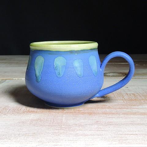 Cobalt and Avocado Abstract Bulb Mug
