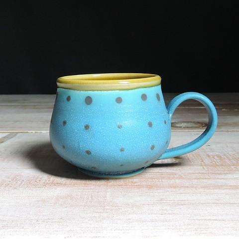 Turquoise and Amber Polka Dot Bulb Mug