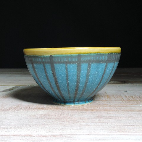 Turquoise and Amber Striped Bowl