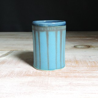 Turquoise and Navy Striped Tumbler