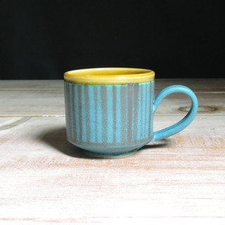 Turquoise and Amber Striped Teacup