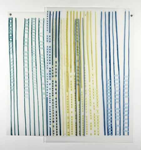 Blue, green, and yellow abstract drawing based on pi, marker on Dura-Lar, by Yvette Kaiser Smith