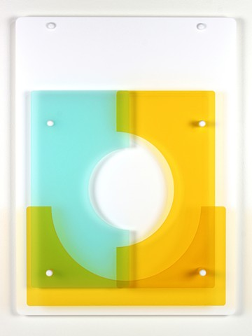 Yellow, blue, and white geometric abstraction based on number sequence in laser-cut acrylic.