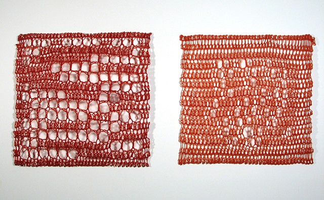 Crocheted fiberglass and polyester resin wall sculpture based on Pi by Yvette Kaiser Smith