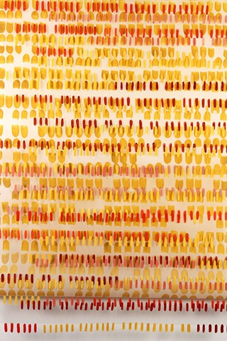 Red and yellow pattern drawing , flashe and gouache on Dura-lar, by Yvette Kaiser Smith