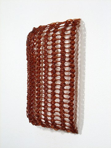 Organic geometric minimal crocheted fiberglass and polyester resin wall sculpture by Yvette Kaiser Smith