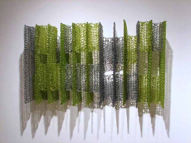 Geometric architectural crocheted fiberglass and polyester resin wall sculpture by Yvette Kaiser Smith