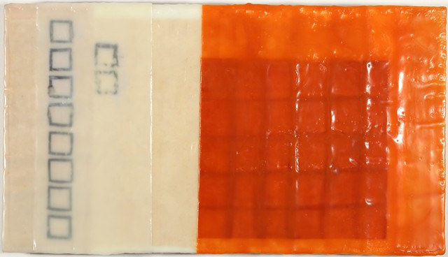 geometric grid encaustic on panel by Yvette Kaiser Smith