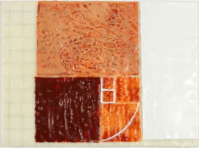 geometry grid encaustic on panel by Yvette Kaiser Smith
