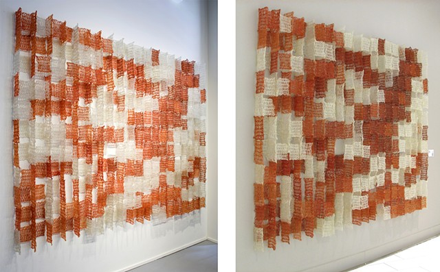 Geometric architectural grid crocheted fiberglass and polyester resin wall sculpture based on the number pi  by Yvette Kaiser Smith