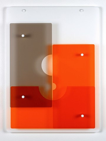 Geometric abstraction in laser-cut acrylic, white, brown, and orange.