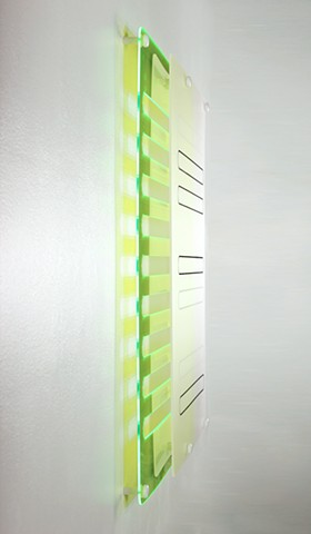 Geometric abstraction in laser-cut green and frosted-clear acrylic based on the number e.