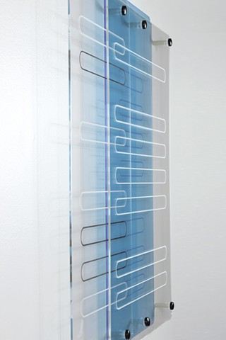 Geometric abstraction in laser-cut fluorescent blue and clear acrylic based on sequence from e.