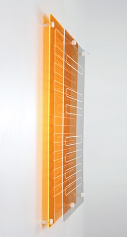 Geometric abstraction in laser-cut fluorescent orange and clear acrylic based on sequence from e.