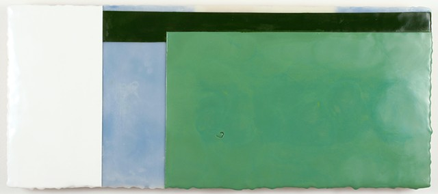 Minimal geometric green white encaustic on panel by Yvette Kaiser Smith