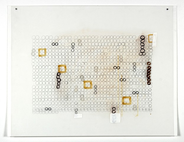 Geometric, grid, mixed media drawing on Dura-Lar by Yvette Kaiser Smith